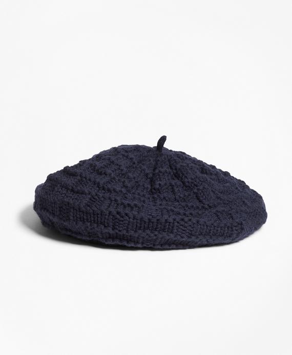 Knit Wool Beret Navy