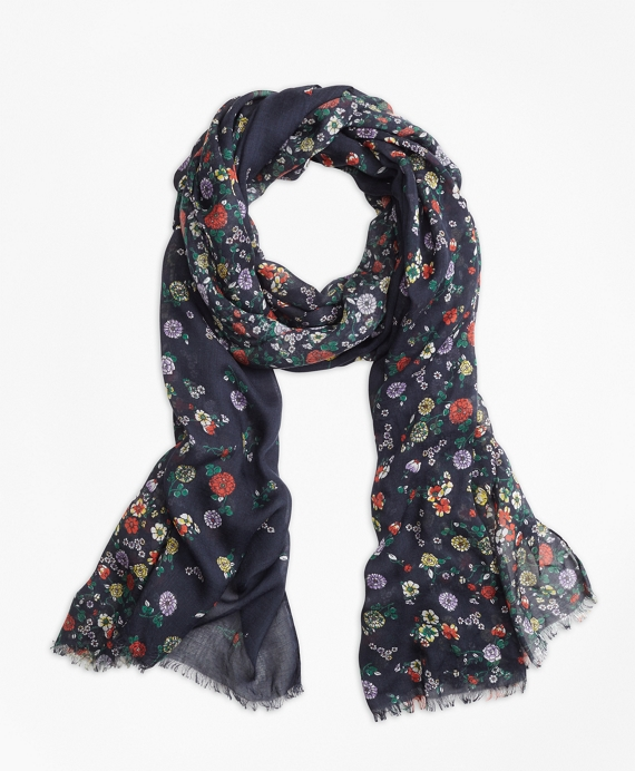 Floral-Print Oblong Scarf Navy