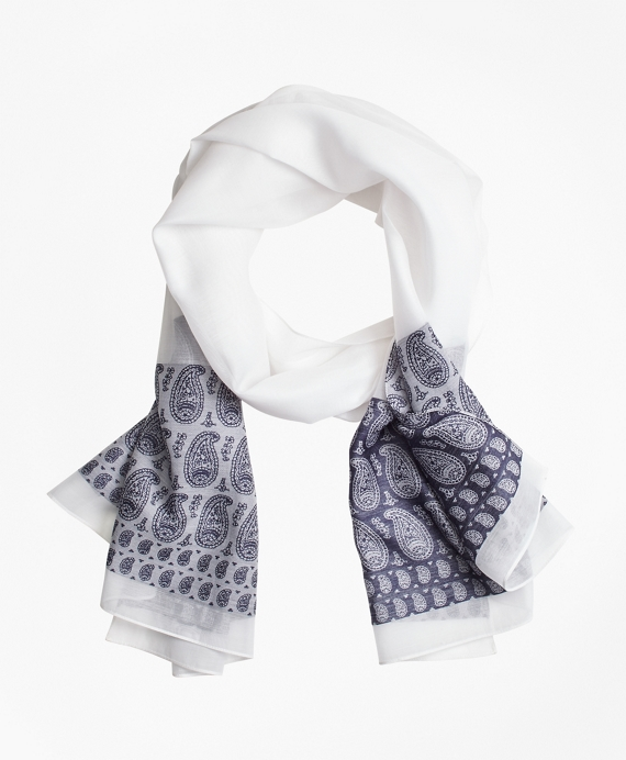 Paisley Silk-Cotton Oblong Scarf Blue
