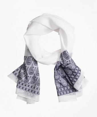 Paisley Silk-Cotton Oblong Scarf