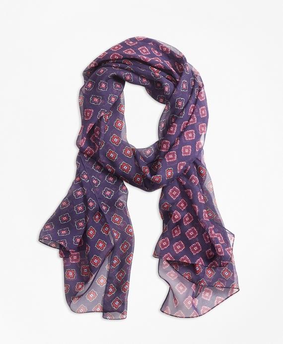 Foulard-Print Silk Chiffon Oblong Scarf