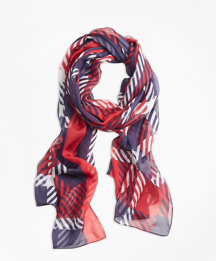 Plaid-Print Silk Chiffon Oblong Scarf