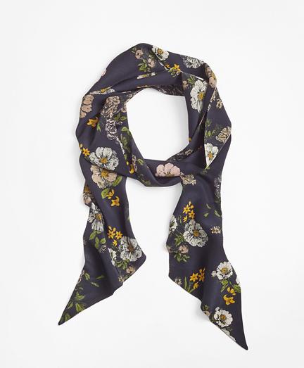 Floral-Print Silk Skinny Scarf