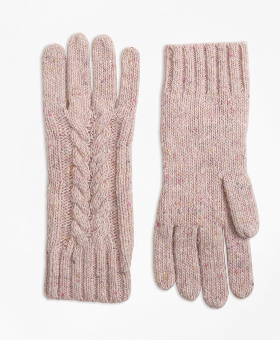 Cable-Knit Alpaca-Wool-Blend Gloves Pink