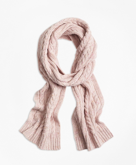Cable-Knit Alpaca-Wool-Blend Scarf Pink