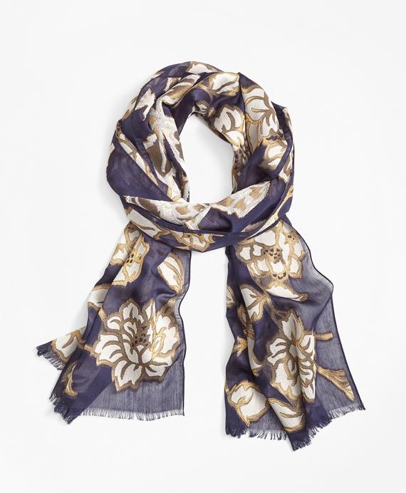 Metallic Floral-Print Scarf