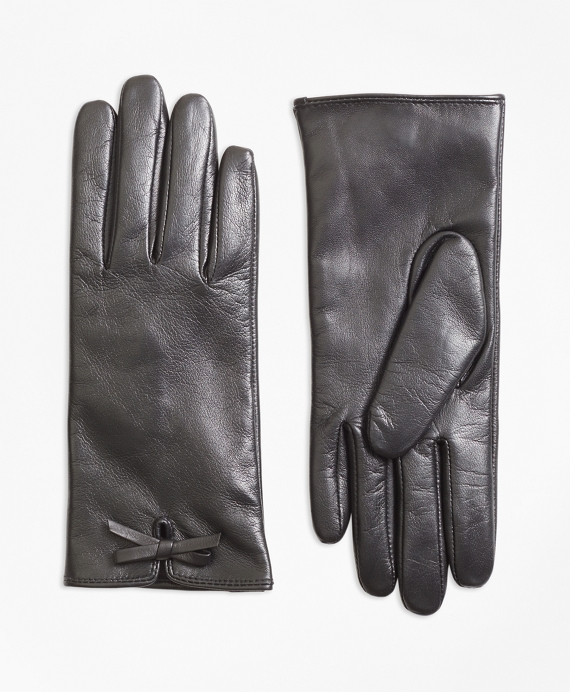 Bow-Trimmed Leather Gloves Black