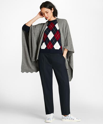 Scallop-Edged Merino Wool-Blend Wrap