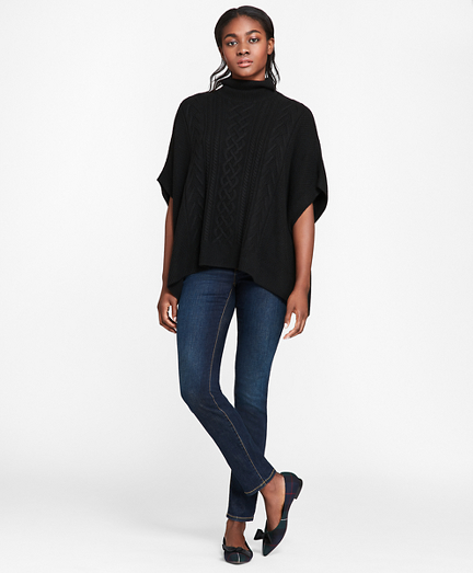 Wool-Blend Cable-Knit Turtleneck Poncho