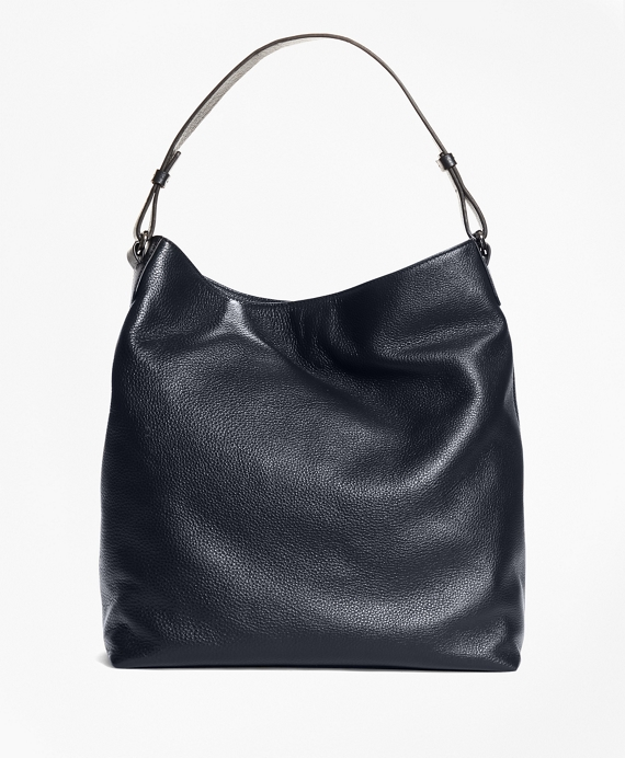 Pebble Leather Hobo Navy