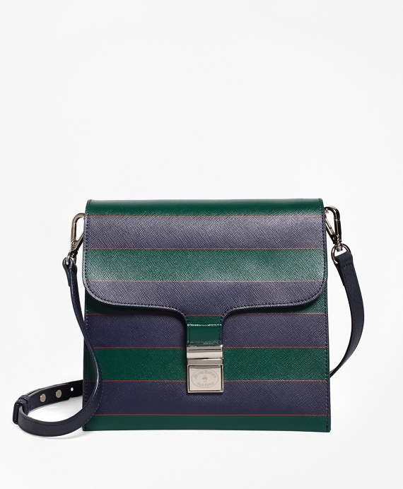 Saffiano Leather Cross-body Bag Navy-Green