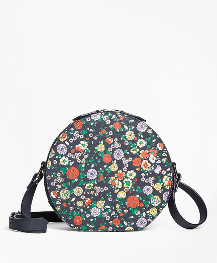 Floral Leather Circle Crossbody Bag