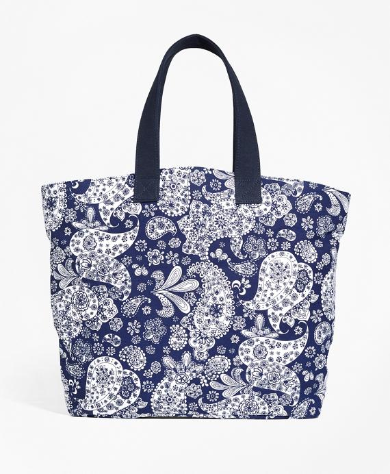 Paisley Canvas Tote Bag Blue