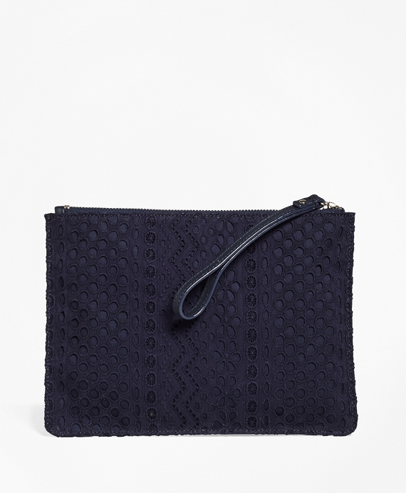 Eyelet Cotton Clutch Navy