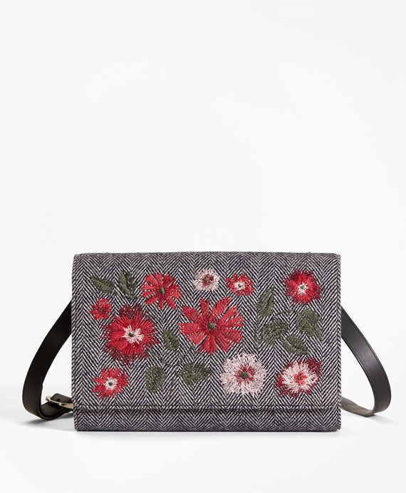 Floral-Embroidered Herringbone Wool Shoulder Bag