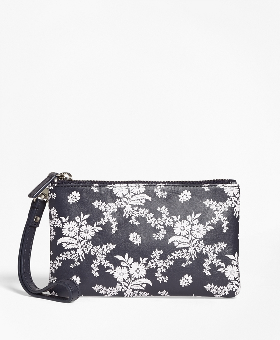 Floral-Print Leather Wristlet