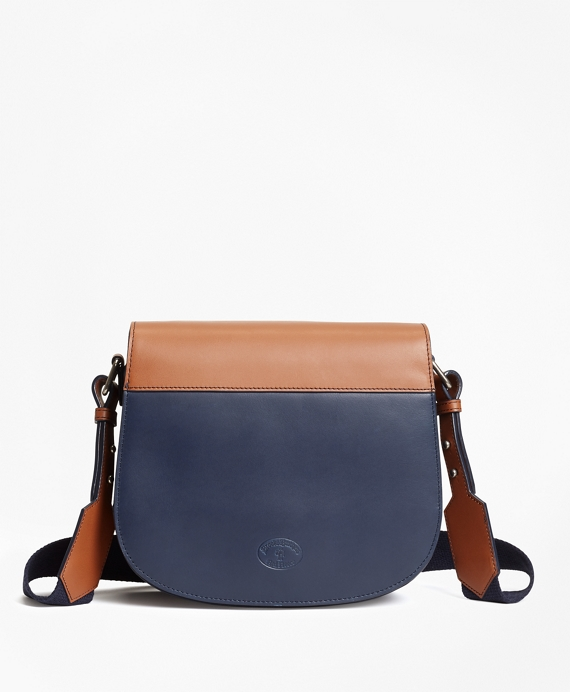 Color-Block Leather Saddle Bag