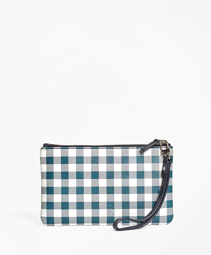 Gingham Leather Wristlet