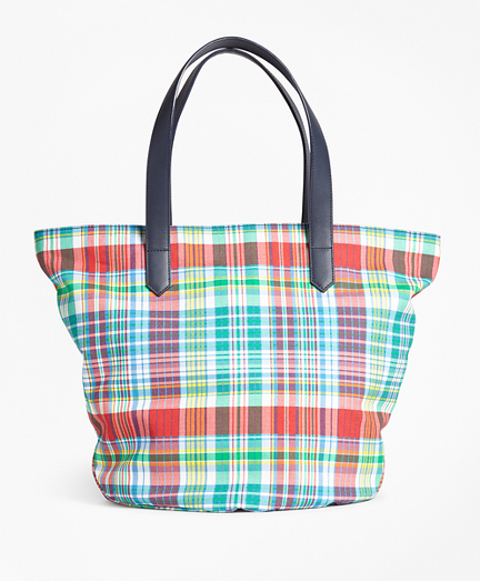 Madras-Print Canvas Tote Bag