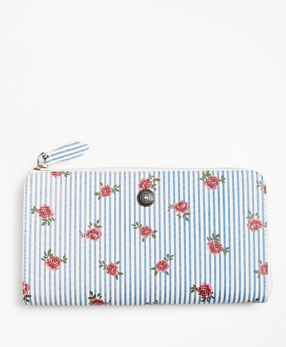 Rose-Print Striped Saffiano Leather Wallet Light Blue-Multi