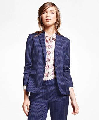 Wool Blend Pinstripe Jacket