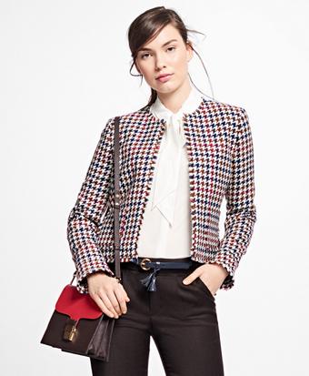 Wool-Blend Houndstooth Jacket