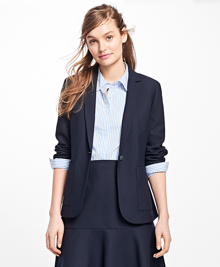 Stretch Wool One-Button Blazer