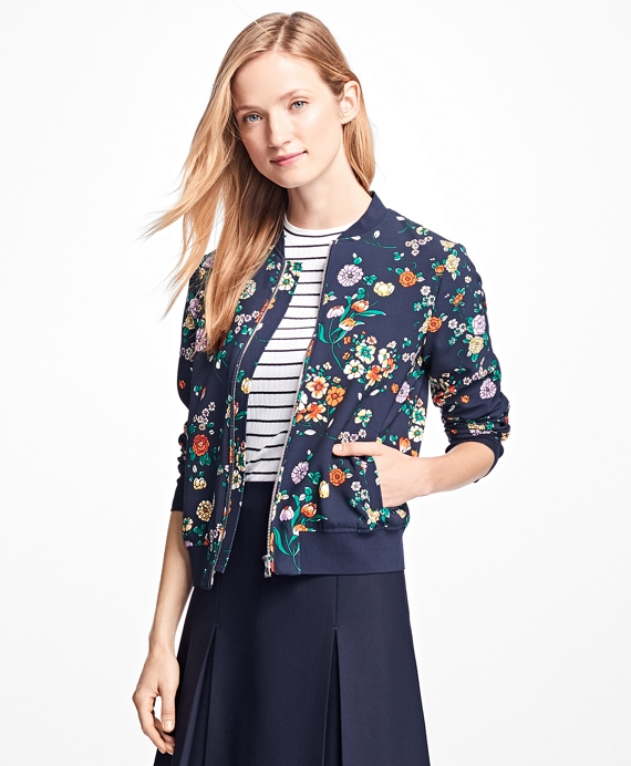 Floral Bomber Jacket Navy-Multi