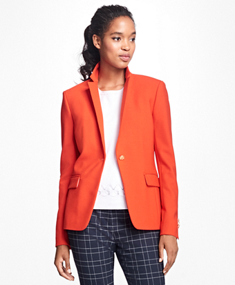 Stretch Wool One-Button Blazer