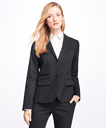 Stretch Wool-Twill Two-Button Blazer