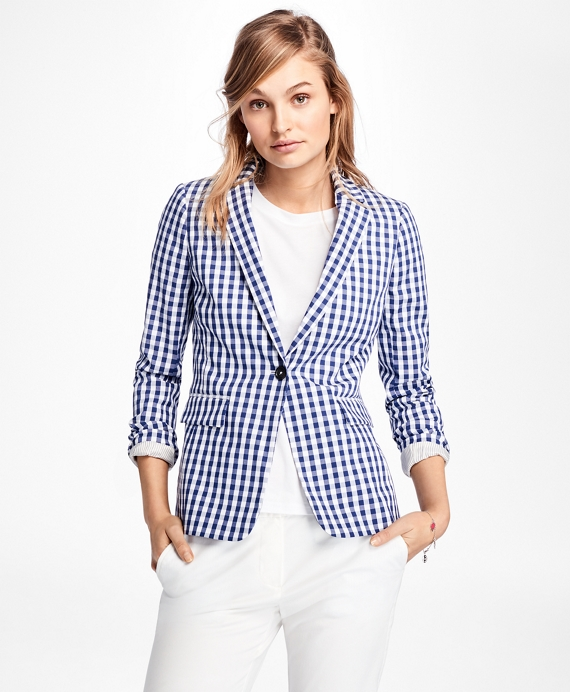 Gingham Stretch-Cotton One-Button Blazer Blue