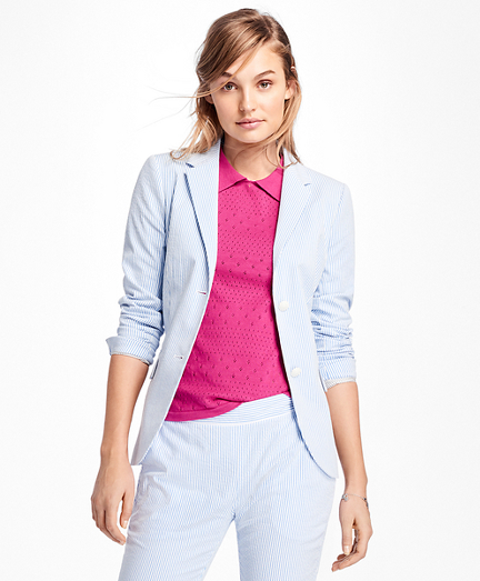 Stripe Seersucker Two-Button Blazer
