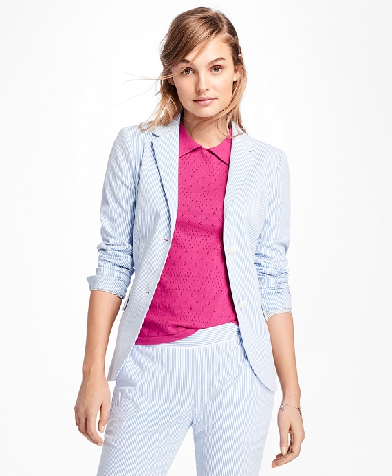 Stripe Seersucker Two-Button Blazer Blue-White