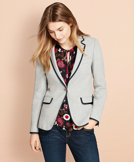 Grosgrain-Tipped Honeycomb-Weave Blazer