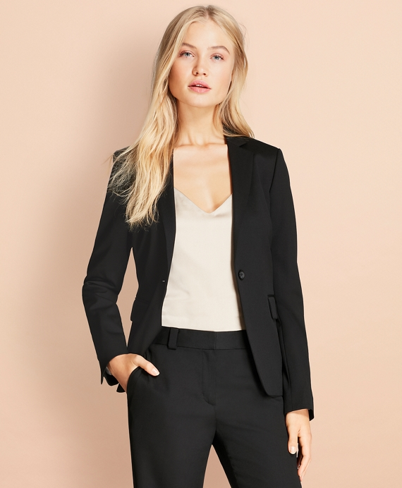 Stretch Wool One-Button Jacket Black