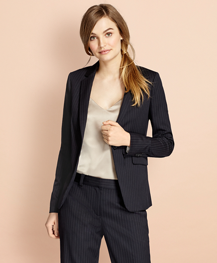 Pinstripe Stretch Wool One-Button Jacket