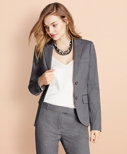 Pinstripe Stretch Wool Two-Button Jacket