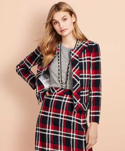 Plaid Wool-Blend Cropped Jacket