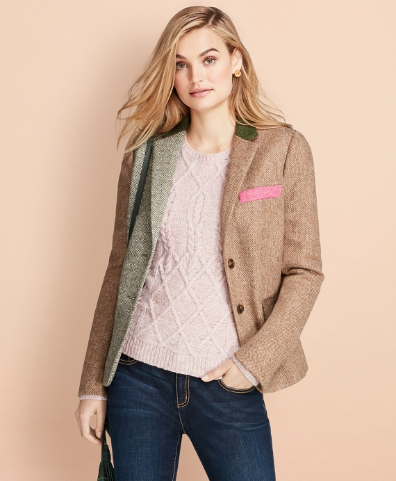 Patchwork Wool Tweed Jacket Multi