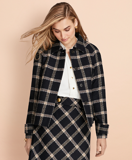 Windowpane Wool Boucle Swing Jacket