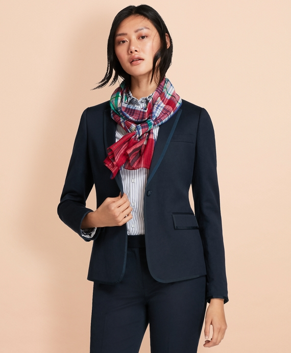 Grosgrain-Trimmed Linen-Cotton Blazer