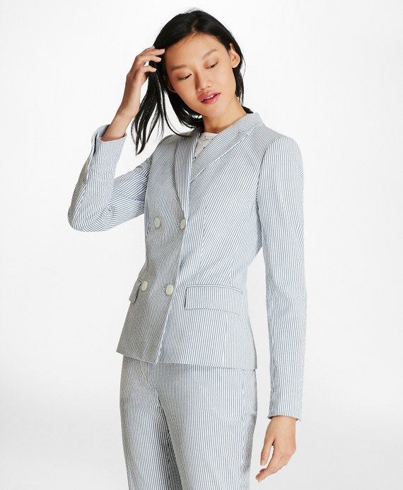 Striped Stretch-Cotton Seersucker Double-Breasted Jacket
