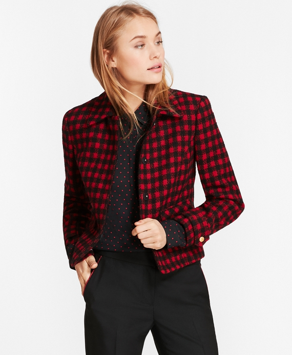 Checked Wool-Blend Jacket Red-Black