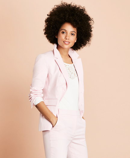Stretch-Cotton Two-Button Jacket
