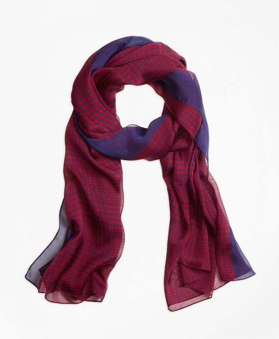 Houndstooth Scarf Red-Navy