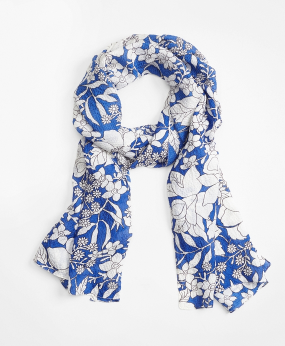 Blue Floral Silk Oblong Scarf