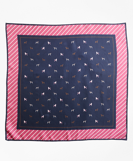 Dog-Print Silk Square Scarf