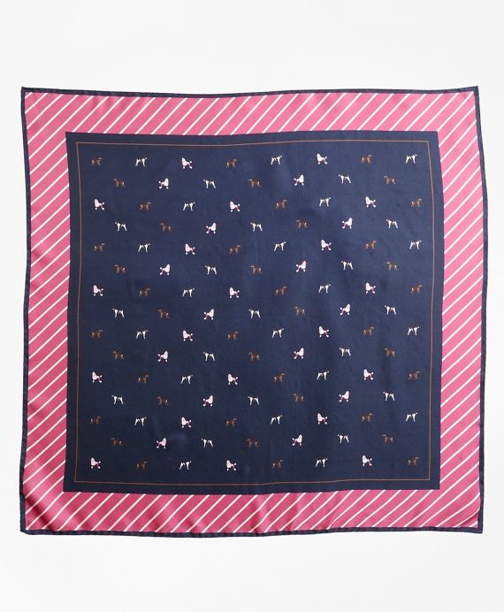 Dog-Print Silk Square Scarf Navy-Pink