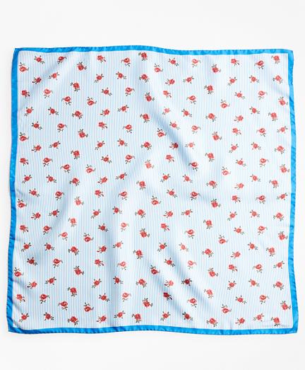 Rose-Print Striped Silk Square Scarf