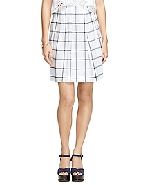 Cotton Windowpane Skirt